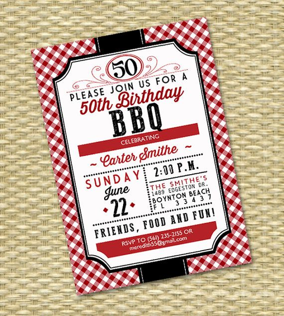 50th Birthday BBQ Red Gingham Rustic Country By SunshinePrintables