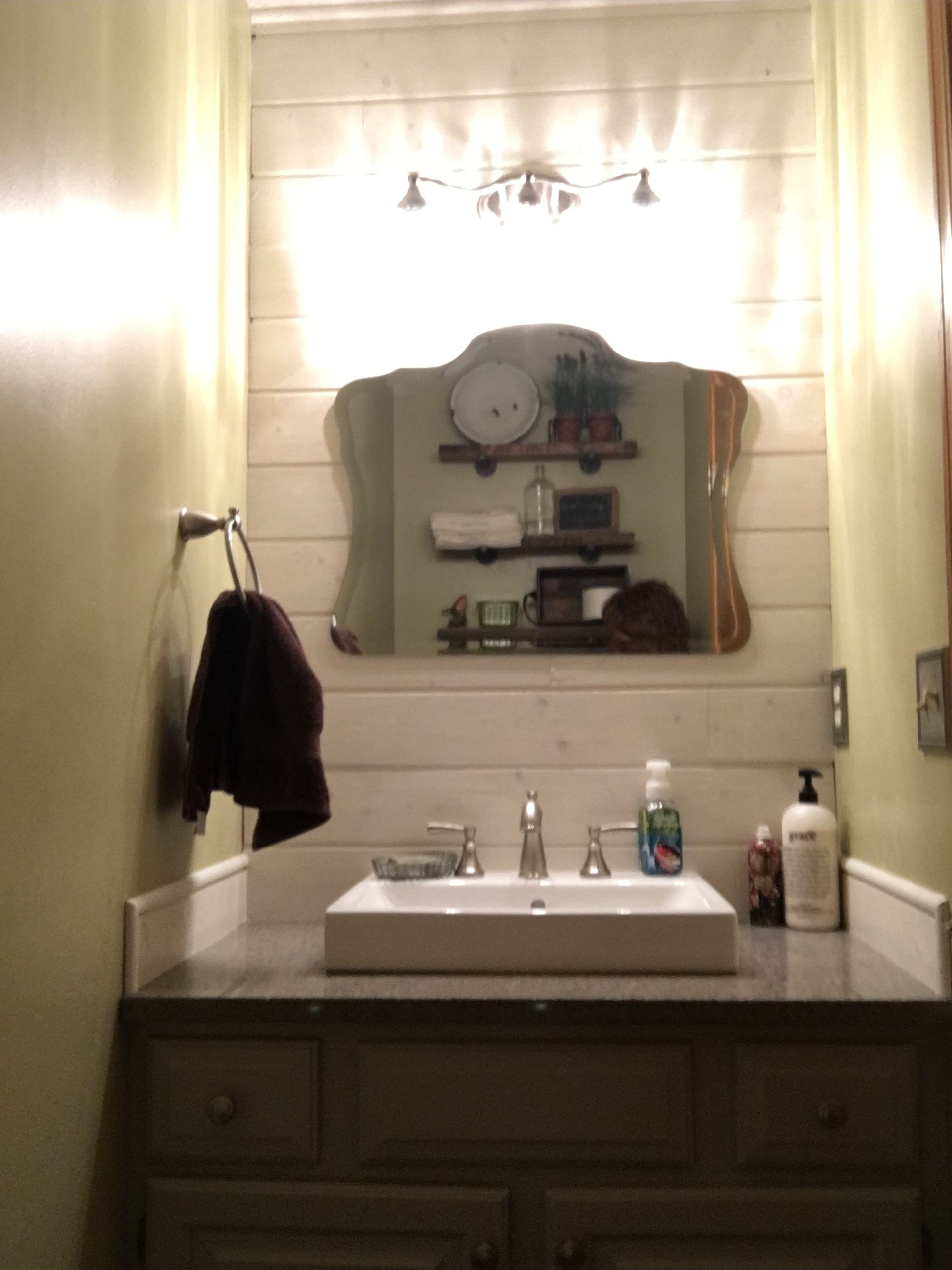 Mirror from Home Depot. Sink from Lowes. Small farmhouse