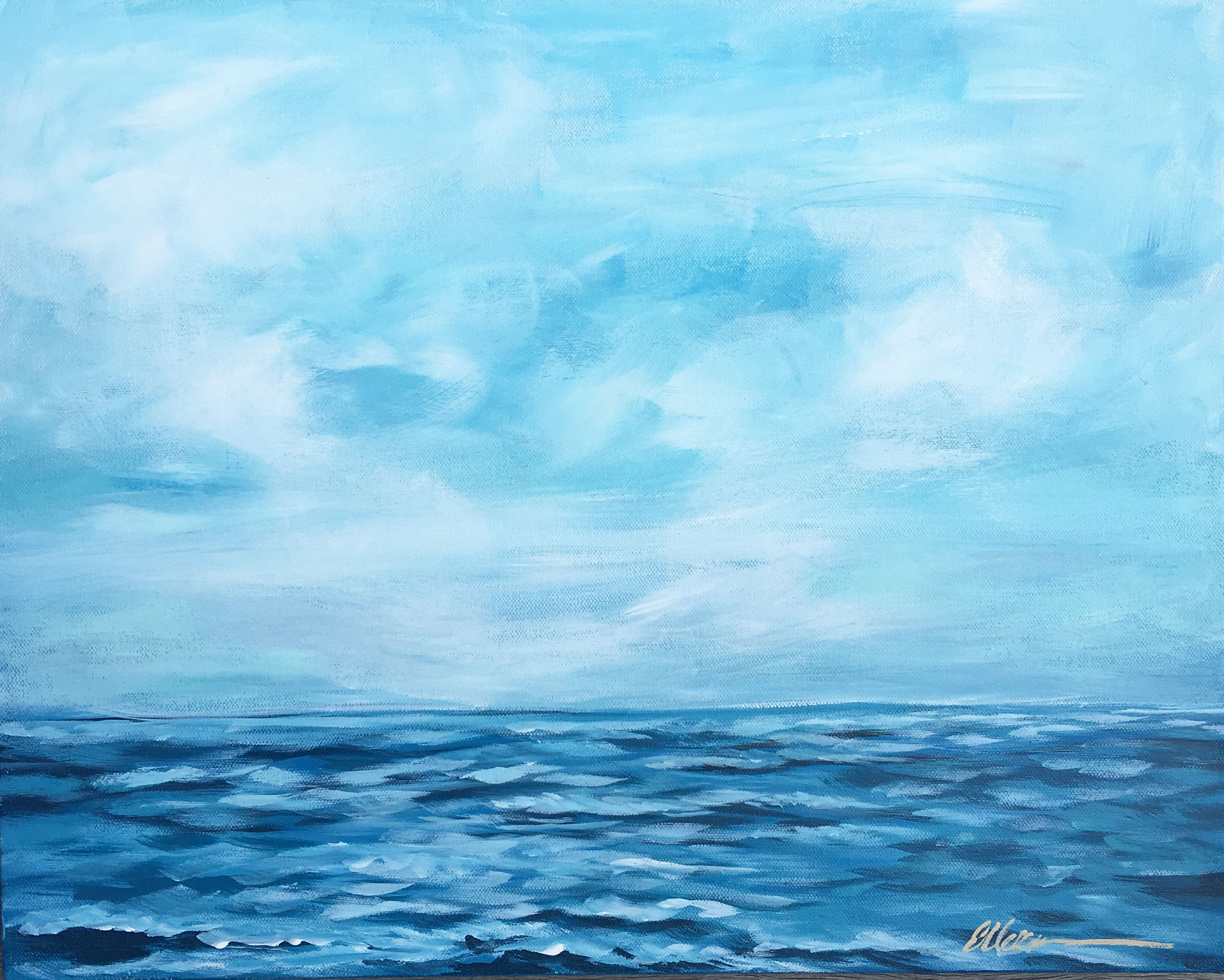 Abstract Acrylic Beach Painting Sand Waves Blue Ocean Clear