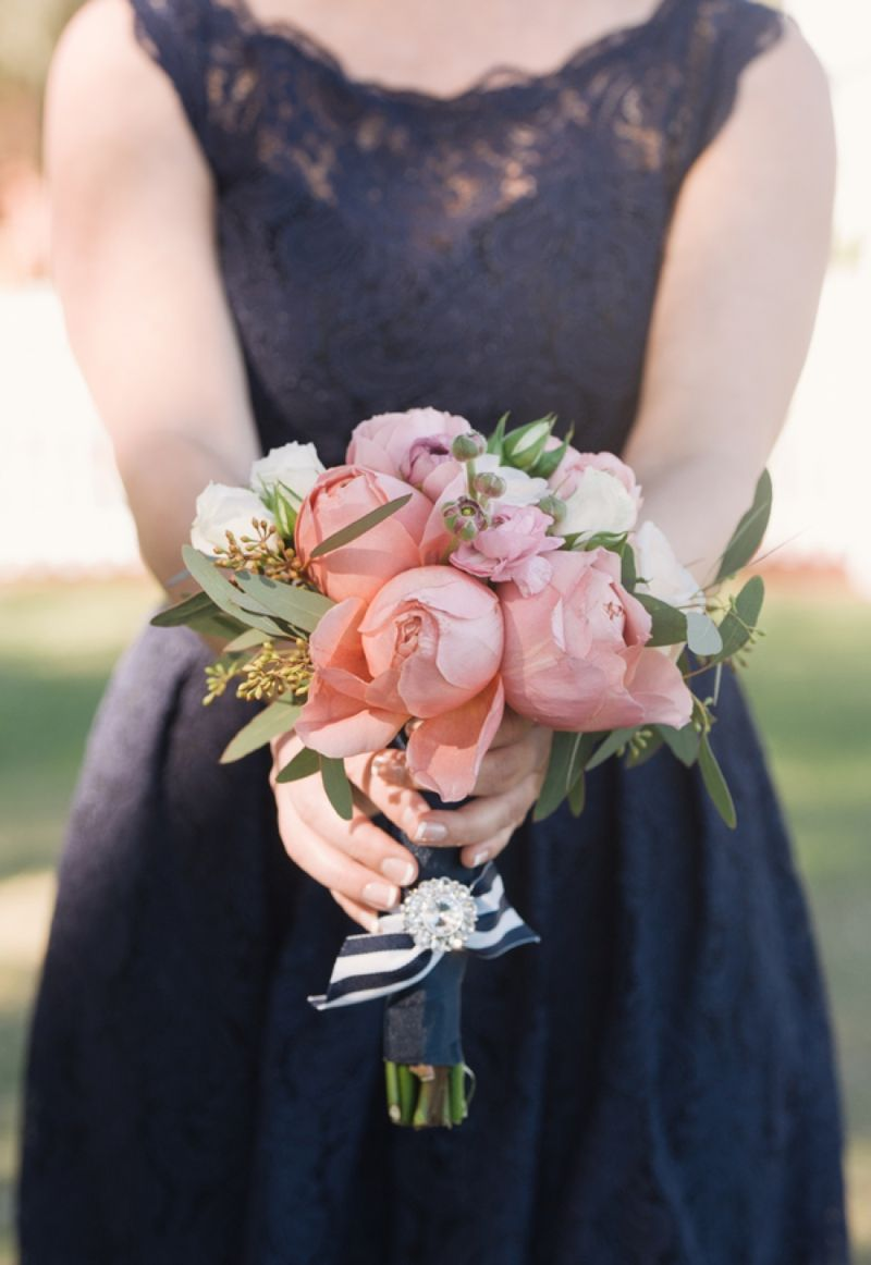 Southern vintage pink and navy wedding peonies bouquet navy