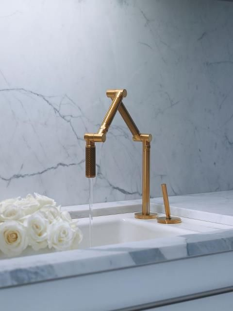 Brushed Gold Kohler Karbon Tap And Sink With Marble Work Top