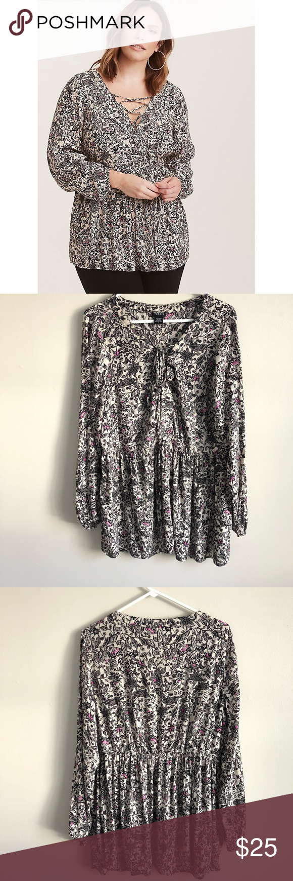 NWT Torrid gray v-neck tunic lace up side sweater