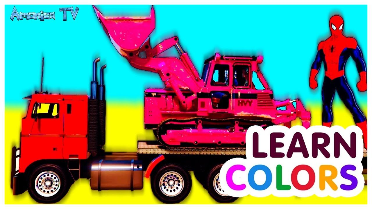 Learn Colors With Trucks Cars A Lot Of Spiderman Car Cartoon For