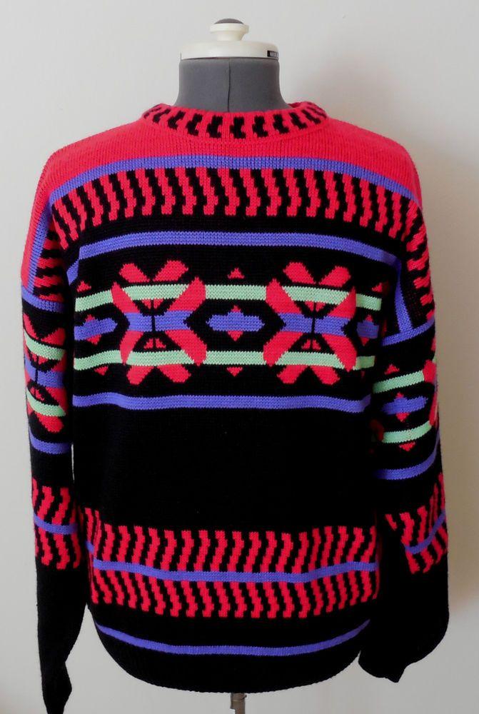 Mens Vintage Demetrre Wool Blend Pullover Ski Sweater Size Large Colorful   #Demetre #Crewneck
