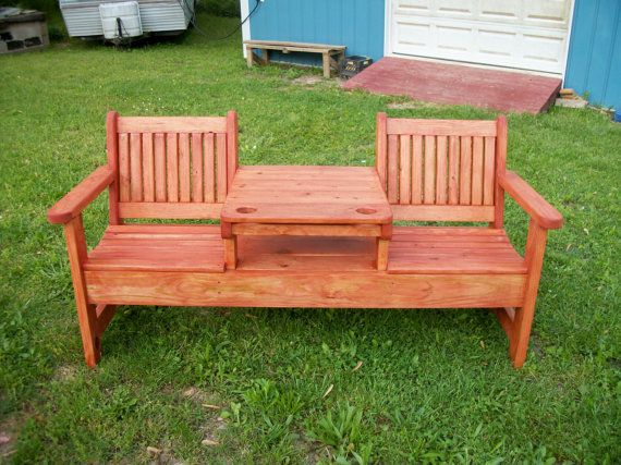 Outdoor Bench/Table,Deck Furniture,Twin Seat Bench with Center Table,Patio Furniture