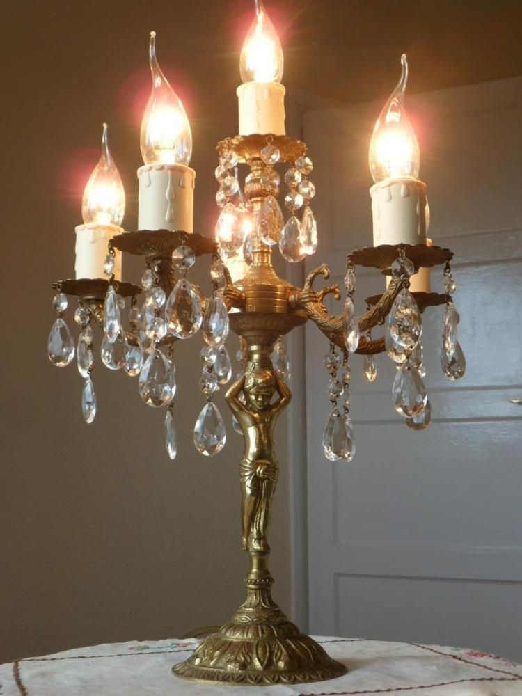 French Vintage Crystal Cherub Candelabra Table Chandelier Lamp 2 Available Vintage Chandelier Chandelier Lamp