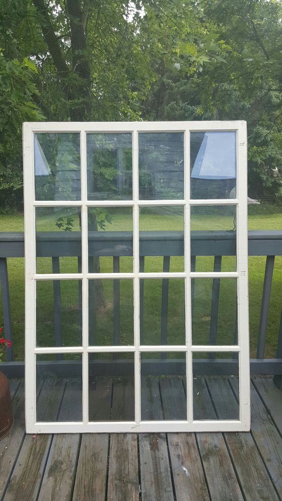 Vintage Old Wood Window Frame 16 Pane Rustic Farmhouse Glass Lite Window Architectural Salvage Building Supply Room Divider Large Farmhouse Glass Wood Window Frame Architectural Salvage