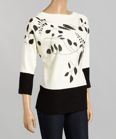 Another great find on #zulily! Ivory & Black Leaves Boatneck Sweater - Women #zulilyfinds