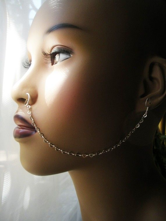 Bollywood Nose Ring chain Belly Dance Jewelry Ear to nose chain Jewelry Boho Jewelry Fake Nose Ring,Fake Indian Nose Ring with chain