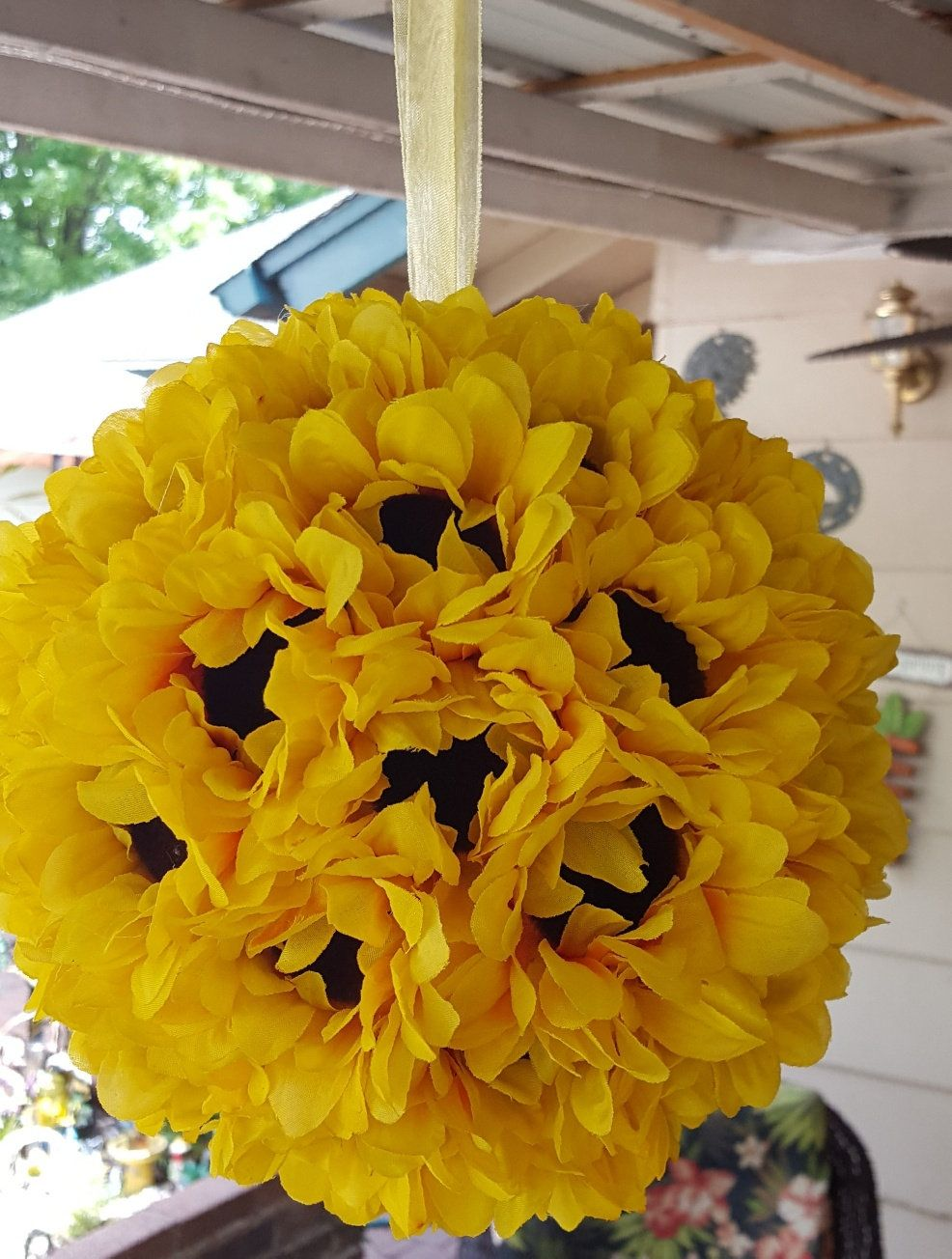 Sunflowers Kissing Ball Wedding Decoration Sunflower