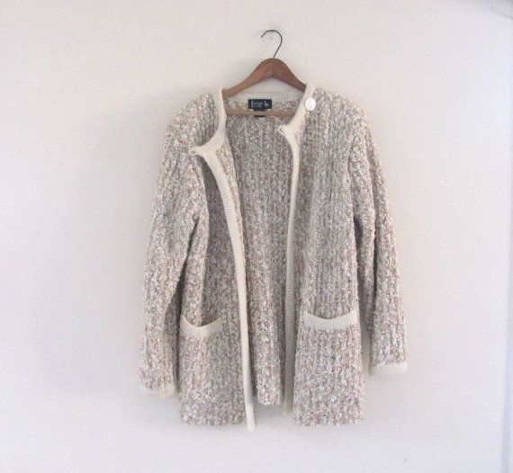 vintage cream shaggy sweater coat / thick knit cardigan sweater / women's size Small