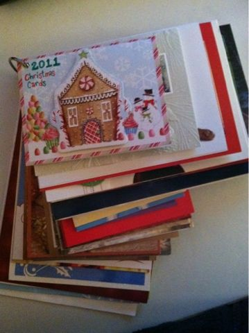 Christmas Cards: arranged by size, hole punched, labeled and looped!