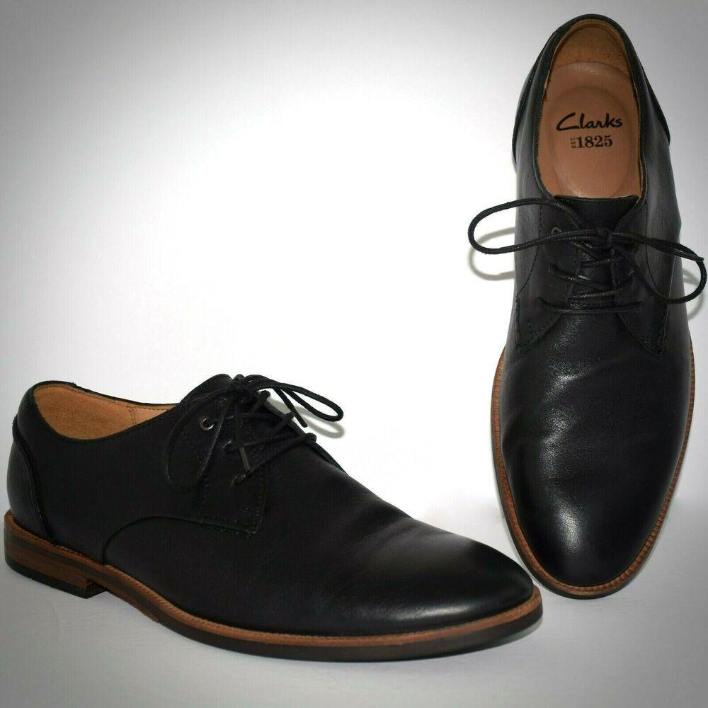 Clarks Shoes Mens Black Leather Oxfords