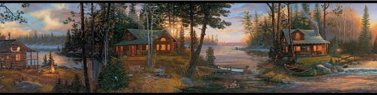 Lake Forest Lodge Ch7842bd Cabin Fever Border York Wallpaper Lake Forest Wallpaper Border