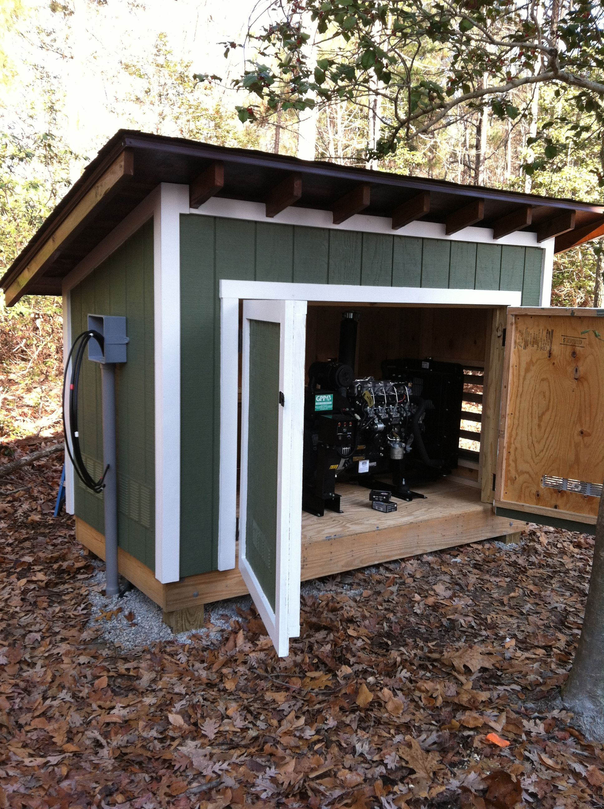 Arts and crafts style shelves generator shed pool shed