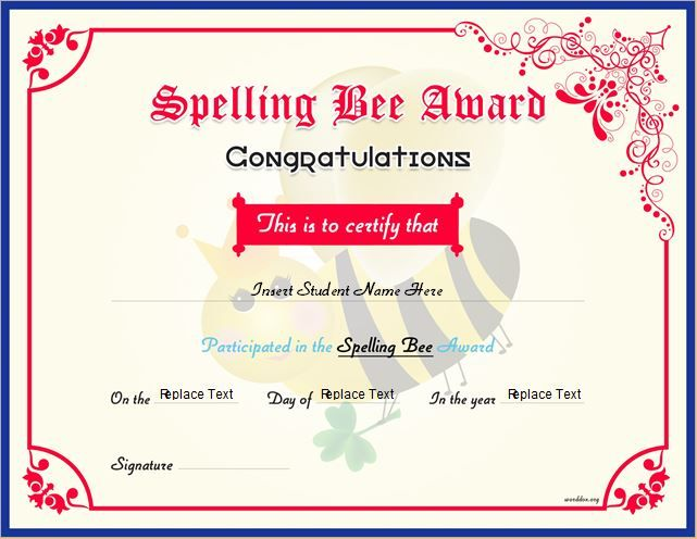 Spelling Bee Award Certificate DOWNLOAD at http\/\/worddoxorg - congratulations award template