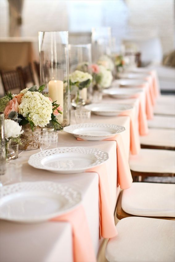 Table Setting Ideas, Peach and Cream
