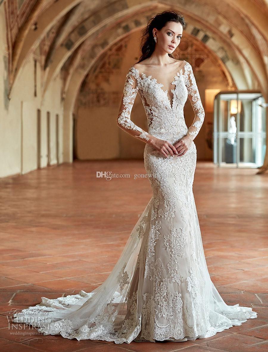 Long Sleeves Wedding Dresses 2017 Off The Shoulder Deep Plunging V