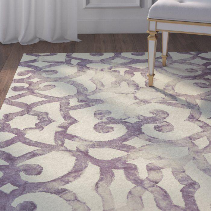 Alioth Geometric Handmade Tufted Wool Cotton Off White Area Rug Purple Area Rugs Area Rugs White Rug