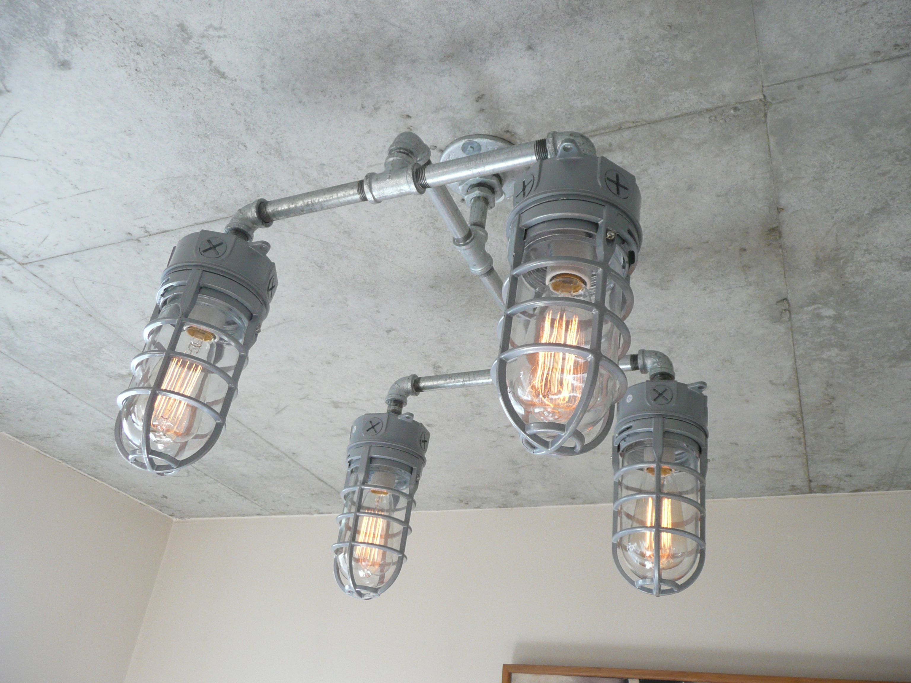 Industrial lighting using galvanized pipe and explosion proof lights