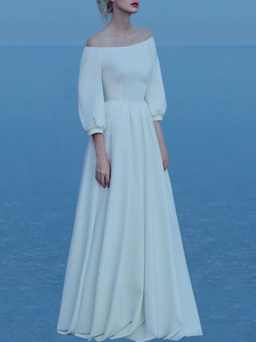 Off Shoulder Plain Puff Sleeve Maxi Dress | Maxi dresses, Shoulder ...
