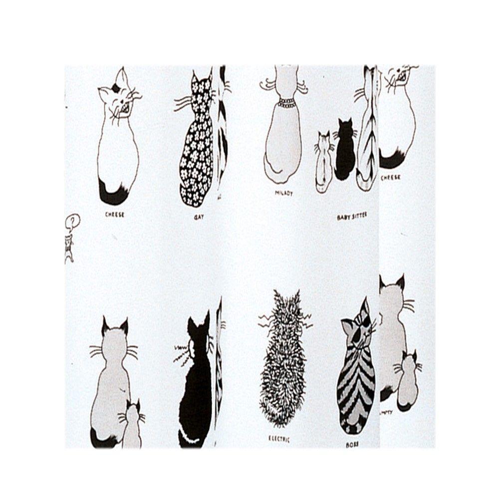 Cortina de ba o gedy cats blanco gris negro cortina de - Cortinas en blanco y negro ...