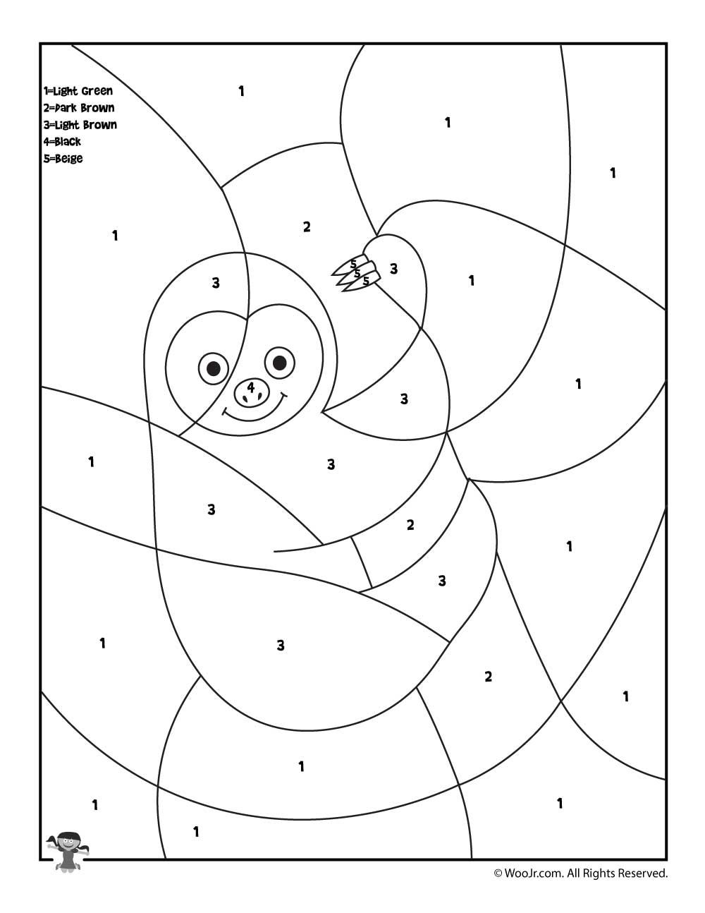 Preschool Color By Number Animal Coloring Pages