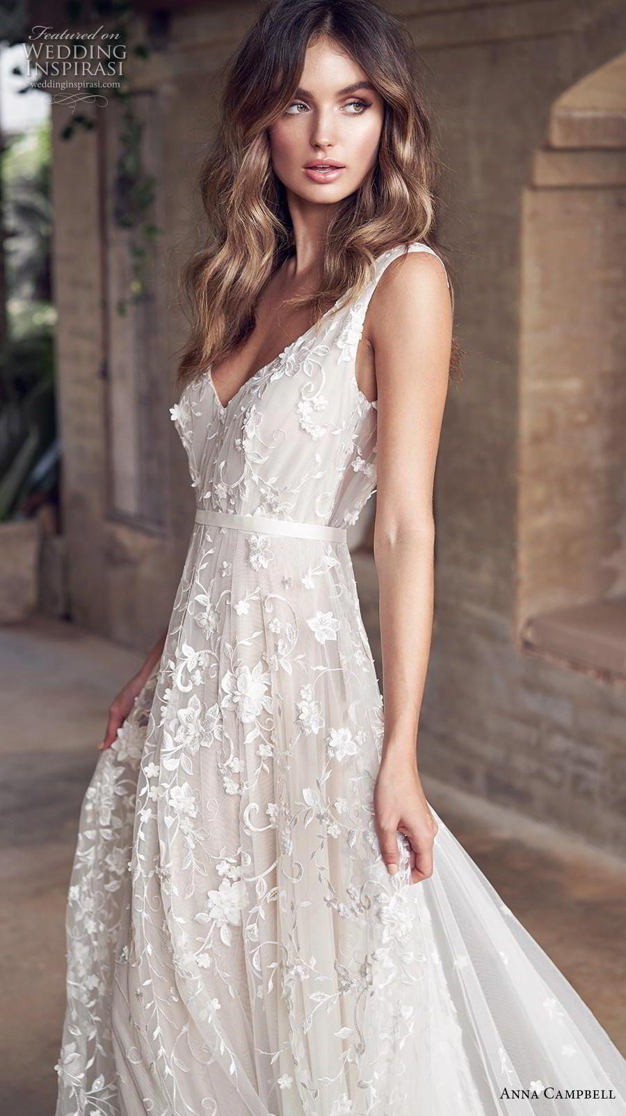 Anna campbell bridal sleeveless v neck full embellishment