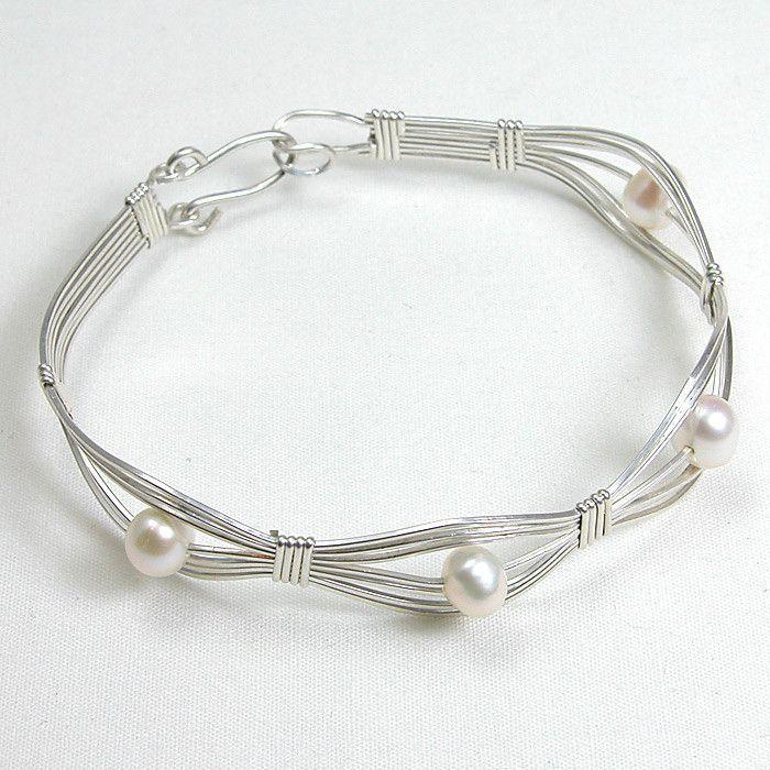 Pearl 165Gemstone Silver Wire Bracelet (B0096)