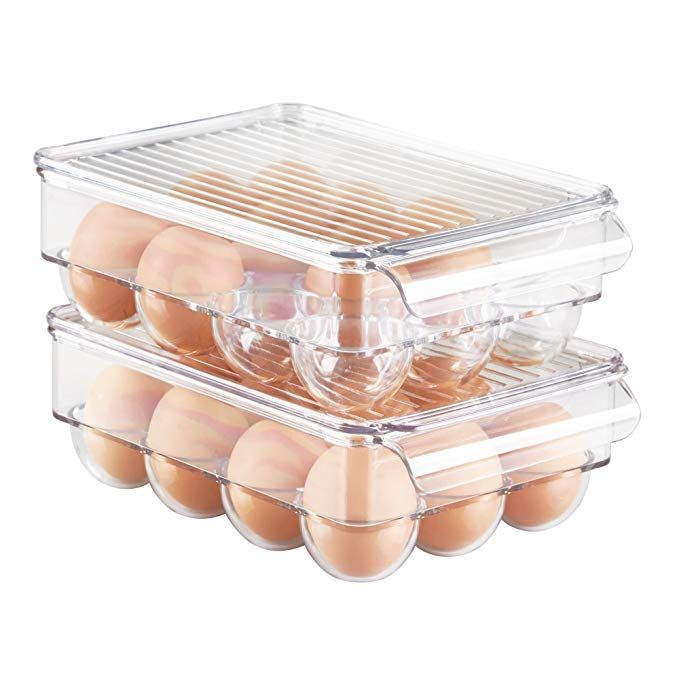 Mdesign Stackable Plastic Covered Egg Tray Holder Storage