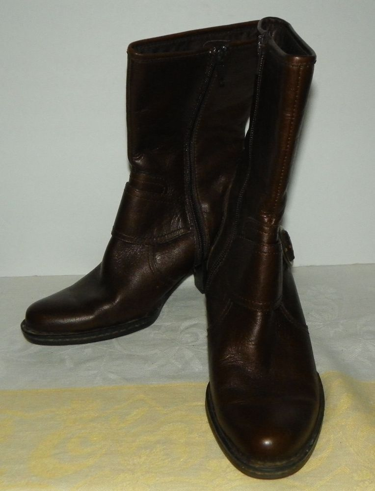 1e4cddb42c0 Born Brown Leather Zip Mid Calf Boots Size 6 36.5 Medium Style W61284  Brn   MidCalfBoots