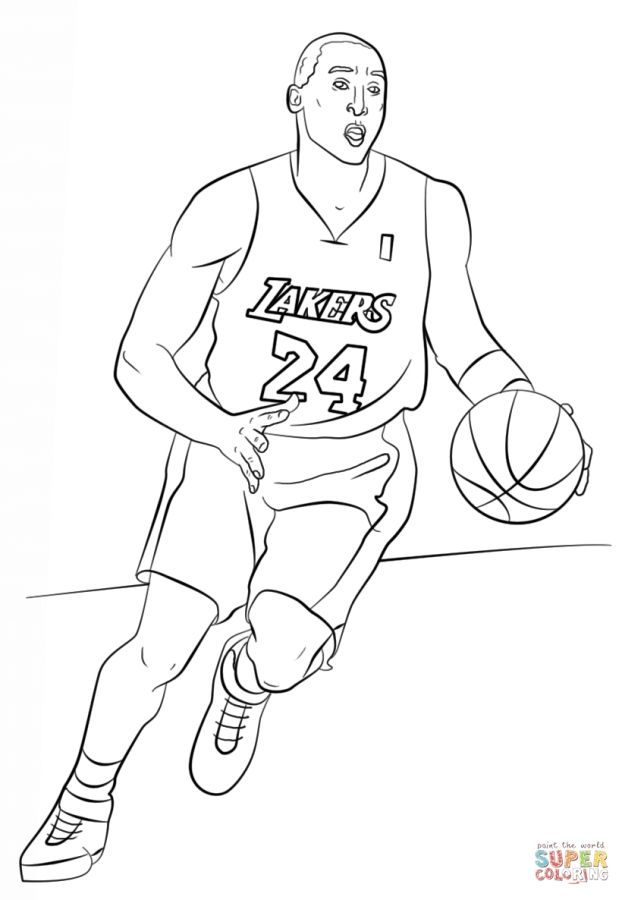 Kobe Bryant NBA coloring pages | Sports Coloring Pages | Pinterest ...