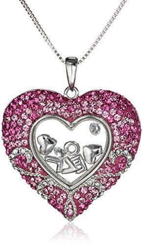 Sterling Silver Pink Heart Floating Love with Swarovski Elements Pendant Necklace 18 -- Check out this great product.(This is an Amazon affiliate link and I receive a commission for the sales)
