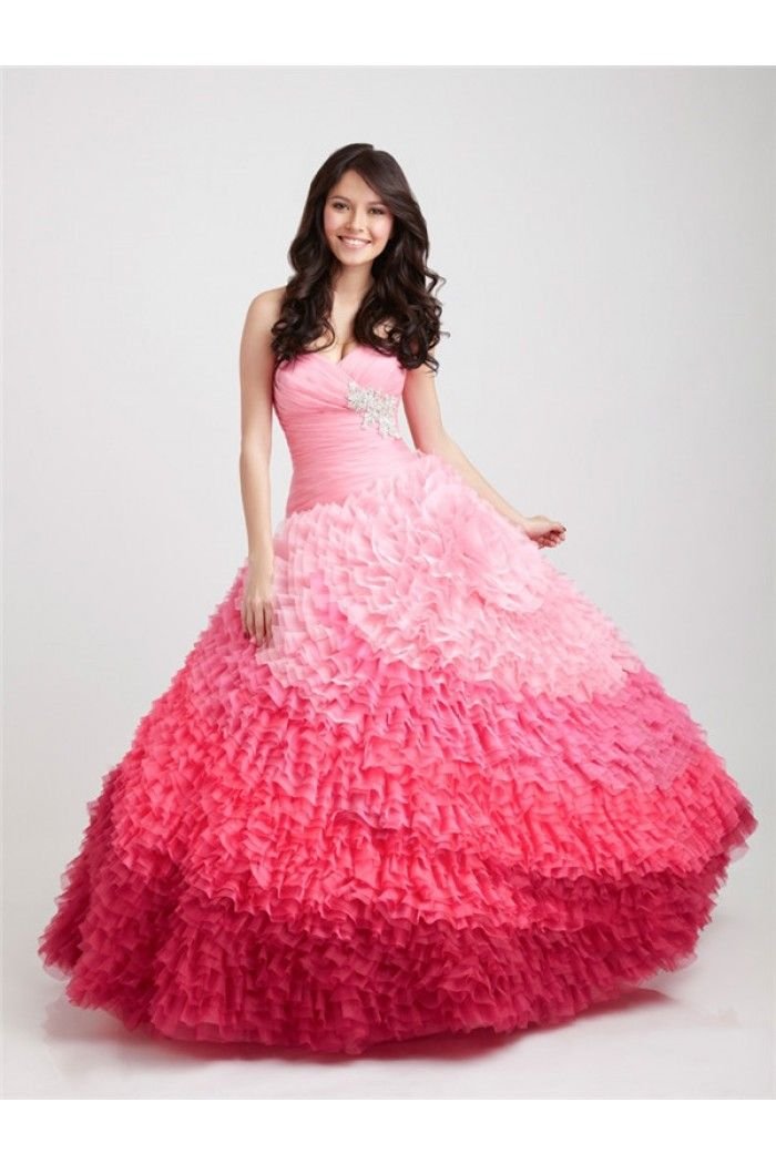 Unique Ball Gown Strapless Sweetheart Multi Colored Ombre Pink ...