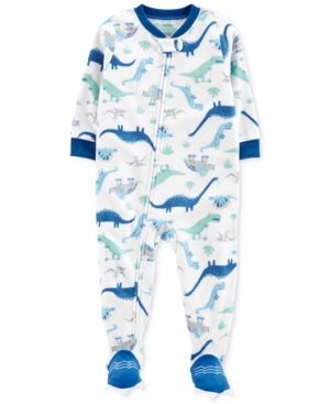 bd351cd32 Carter's Baby Boys Dinosaur-Print Fleece Footed Pajamas - White 24 months