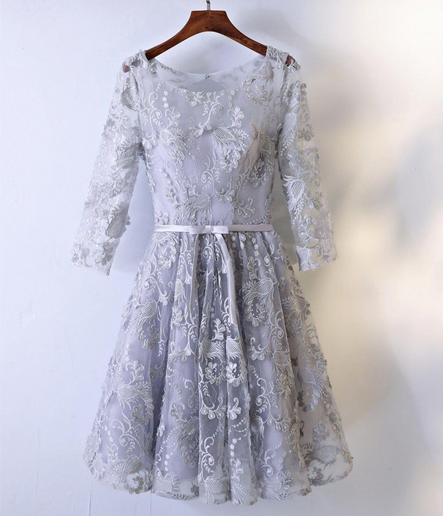 long sleeve gray lace round neckline homecoming prom dresses