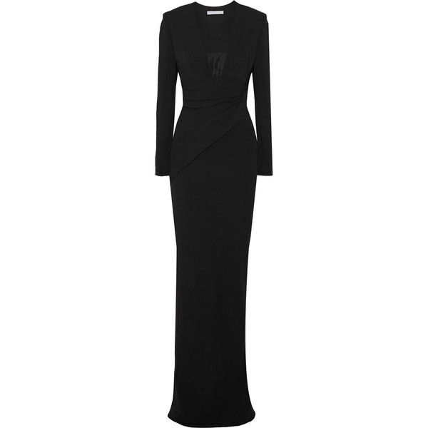 Alexander Wang Gathered crepe gown (£331) ❤ liked on Polyvore featuring dresses, gowns, black, loose dress, alexander wang gown, crepe dress, rouched dress and alexander wang