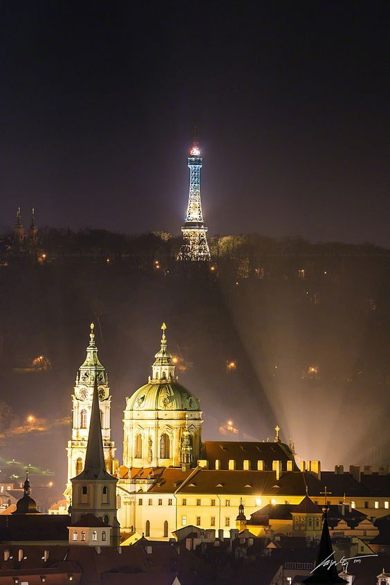 Petřín Tower and St.Nicolas church at night, Prague