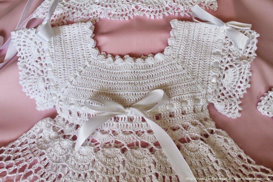 Encantador Patrón De Crochet Libre Vestido De Bautizo Colección de ...