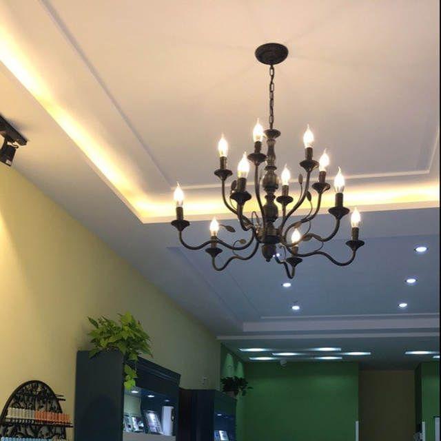 Retro Chandelier Lighting Black Wrought Iron Chandeliers For