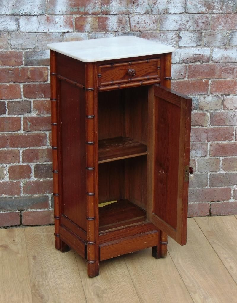 Early 20th century French faux bamboo marble top bedside cabinet/pot  cupboard.