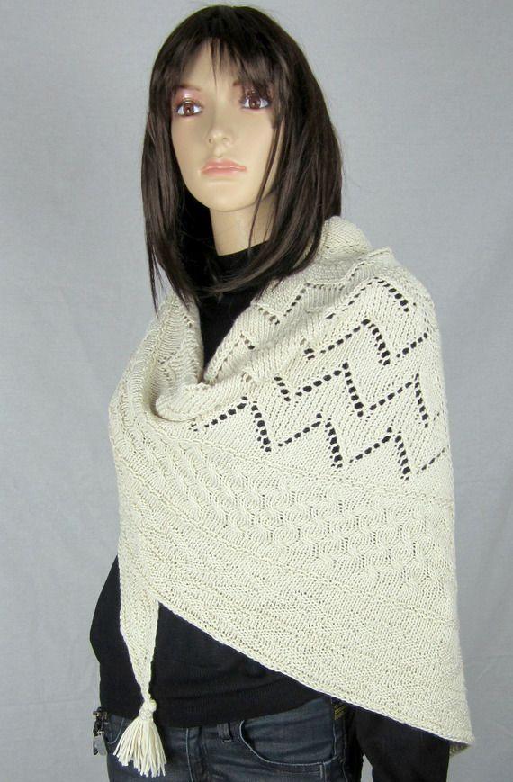 BONHEUR - Châle en mérinos et soie tricoté main