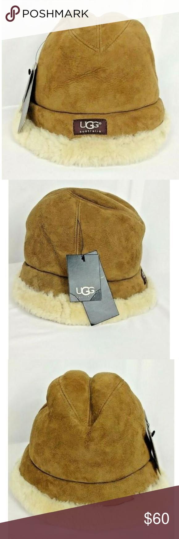 115bc75e6 UGG Australia Leather Shearling Hat Chestnut NWT Ugg Australia