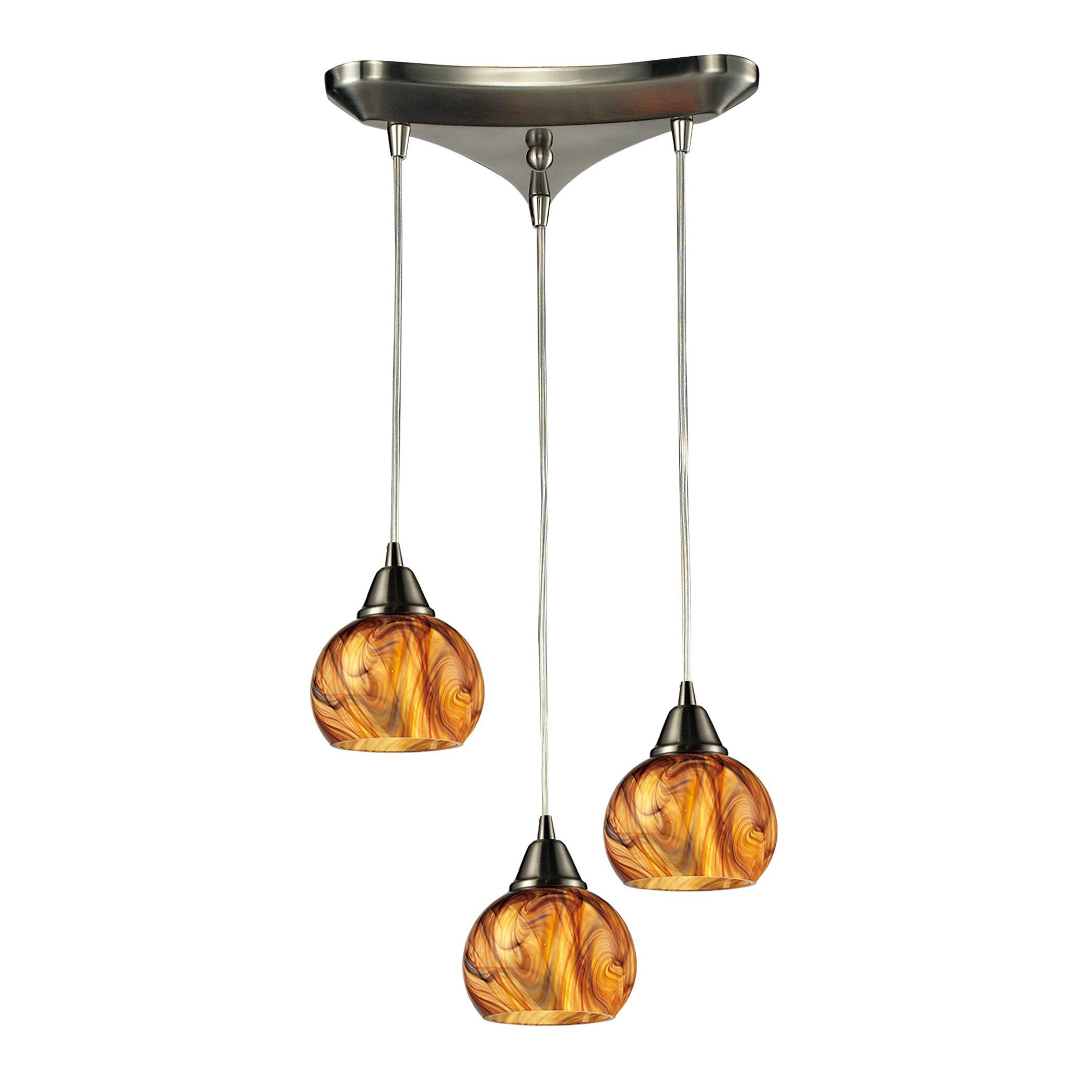 ella 3 light pendant in satin nickel by elk lighting group