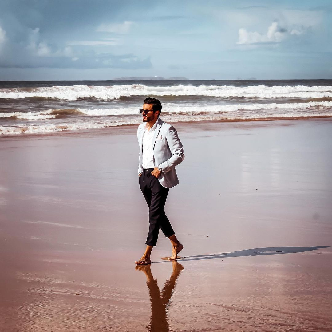 Man Walking Beach Photo Man Beach Portugal Man Beach Europe Stylish Man Photo Style Men Fashion