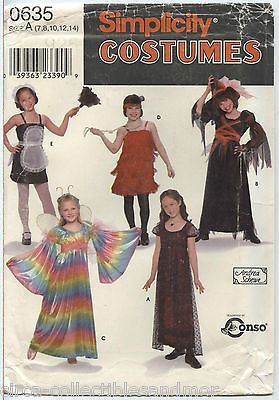 Simplicity Pattern 0635 Girls Costumes Flapper Maid Witch Angel Uncut Sz 7-14
