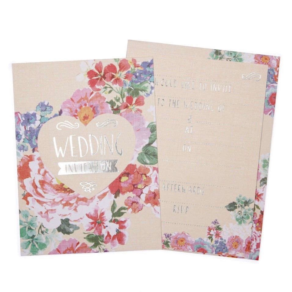 Floral & silver flat wedding invitations - Paperchase | SMP & AJS ...