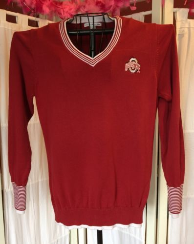 Womens Cutter Buck Red Ohio State University Pullover Sweater