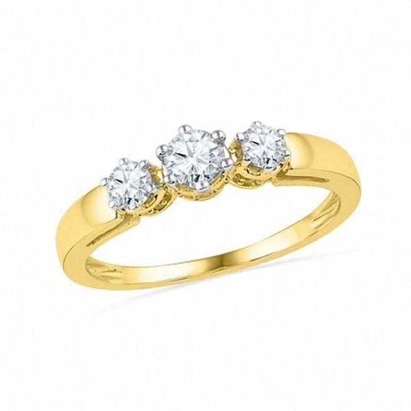 1 2 Ct T W Diamond Three Stone Ring In 10k Gold In 2020 Three Stone Rings Stone Rings Diamond