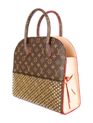 f1d588d8df9 Beige and brown monogram coated canvas Louis Vuitton X Christian Louboutin  Shopping Bag with bras stud embellished front slit pocket